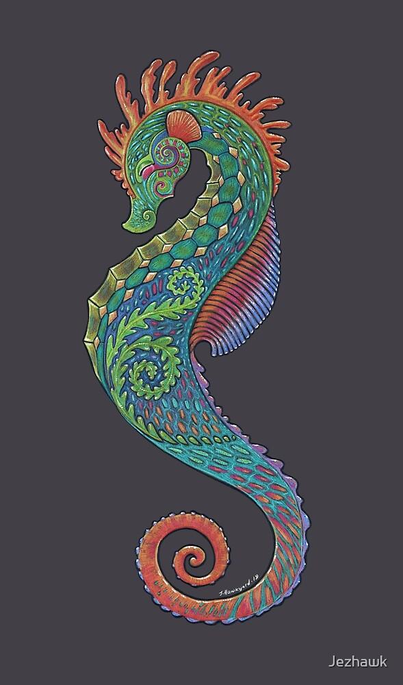 Seahorse Totem, Cute Seahorse Art, Boho Seahorse Art, Colourful Seahorse, Ocean Art by Jezhawk