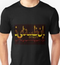 Istanbul By Night Skyline Cityscape Typography Slim Fit T-Shirt