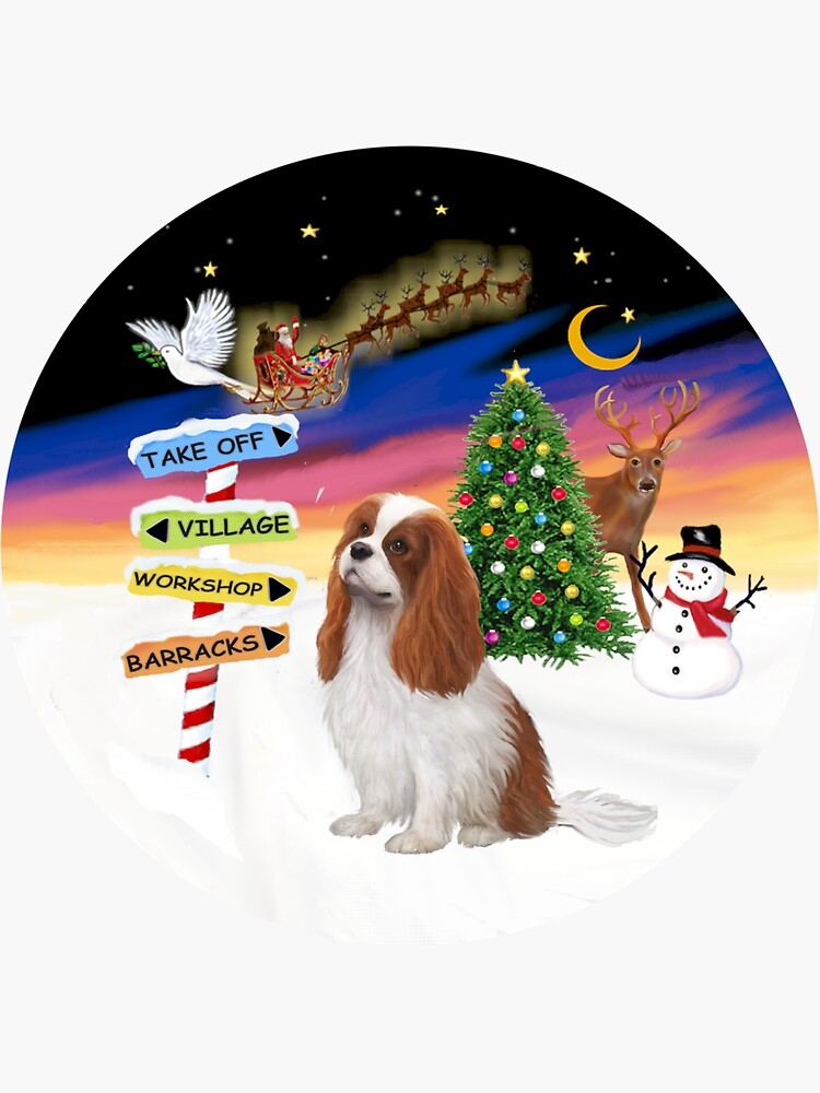 Christmas Signs - Cavalier King Charles Spaniel (Blenheim) by JeanBFitzgerald