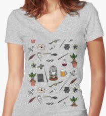 Owl and wand Fitted V-Neck T-Shirt