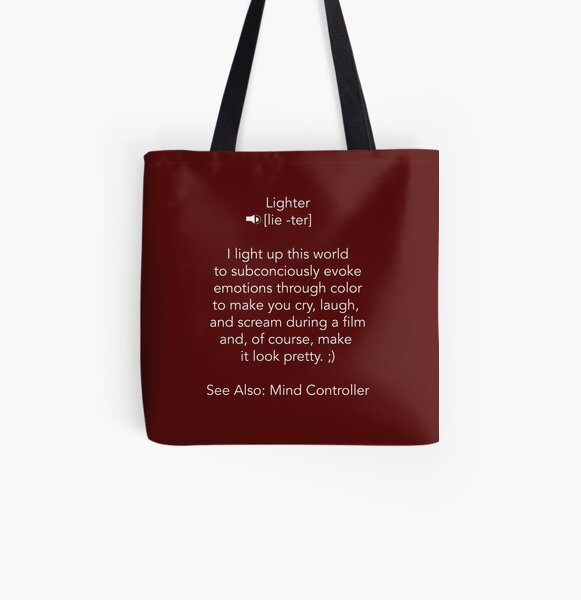 Define Lighter - White Text1 All Over Print Tote Bag