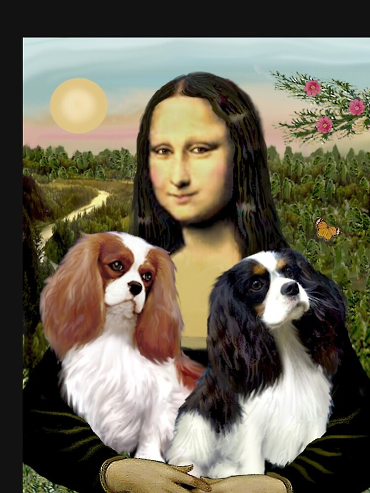 Mona Lisa and her Two Cavalier King Charles Spaniels by JeanBFitzgerald