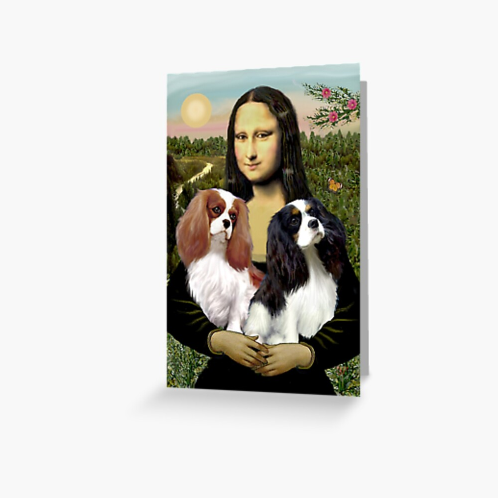 Mona Lisa and her Two Cavalier King Charles Spaniels Greeting Card