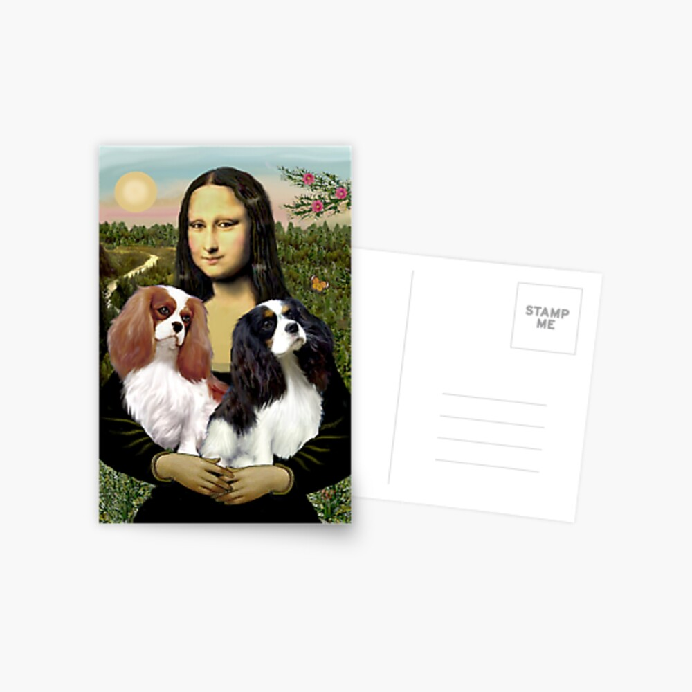 Mona Lisa and her Two Cavalier King Charles Spaniels Postcard