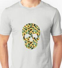 Camiseta ajustada acuarela girasoles en calavera