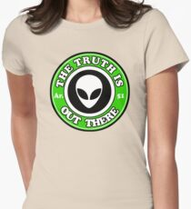 THE TRUTH IS OUT THERE - ALIEN HEAD Womens Fitted T-Shirt