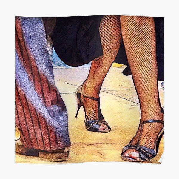 Buenos Aires Street Tango on Sandy Floor Poster