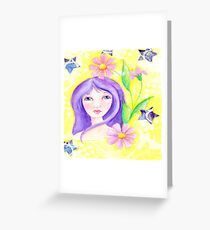 Whimiscal Girl with Long Purple Hair Greeting Card