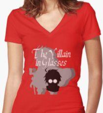 The Villain in Glasses Women's Fitted V-Neck T-Shirt