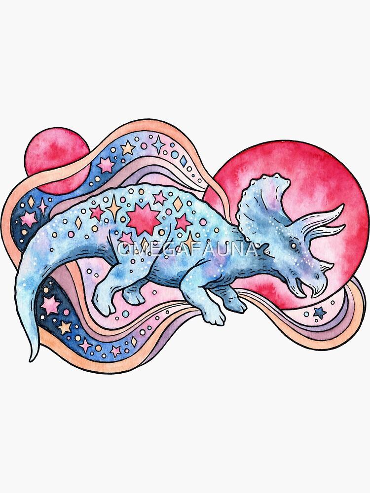 Star Tricera | Cosmic Dinosaur Watercolor by OMEGAFAUNA
