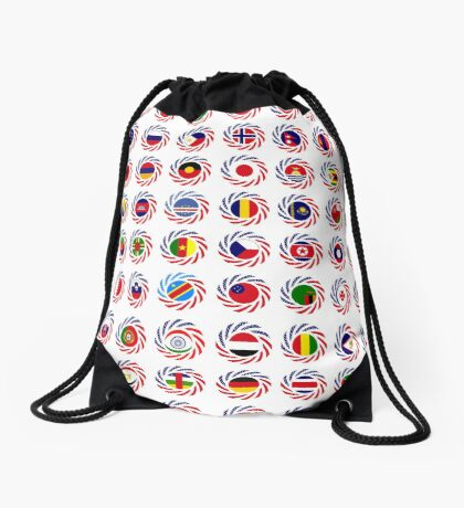 We Are America Multinational Patriot Flag Collective 2.0 Drawstring Bag