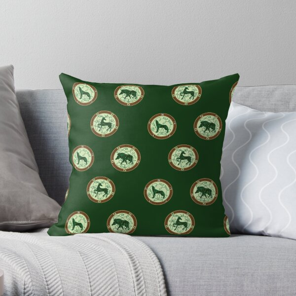 Celtic knotwork forest creatures Throw Pillow