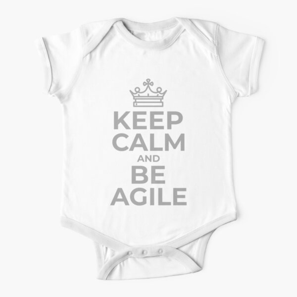 Keep Calm, Be Agile in Gray Short Sleeve Baby One-Piece