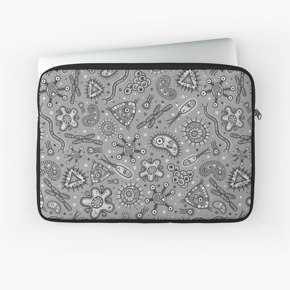 Cartoon Microbes - Grey / Gray Laptop Sleeve