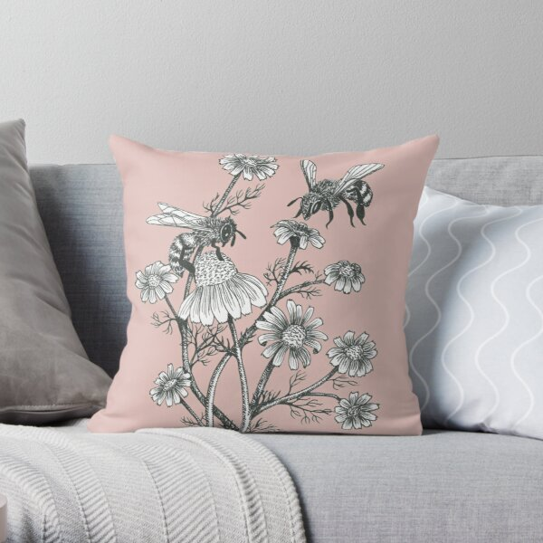 bees and chamomile on dusty pink background Throw Pillow