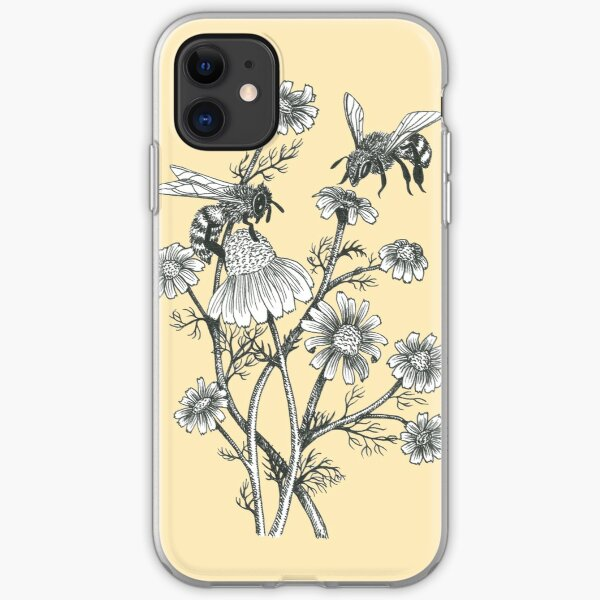 bees and chamomile on honey background  iPhone Soft Case