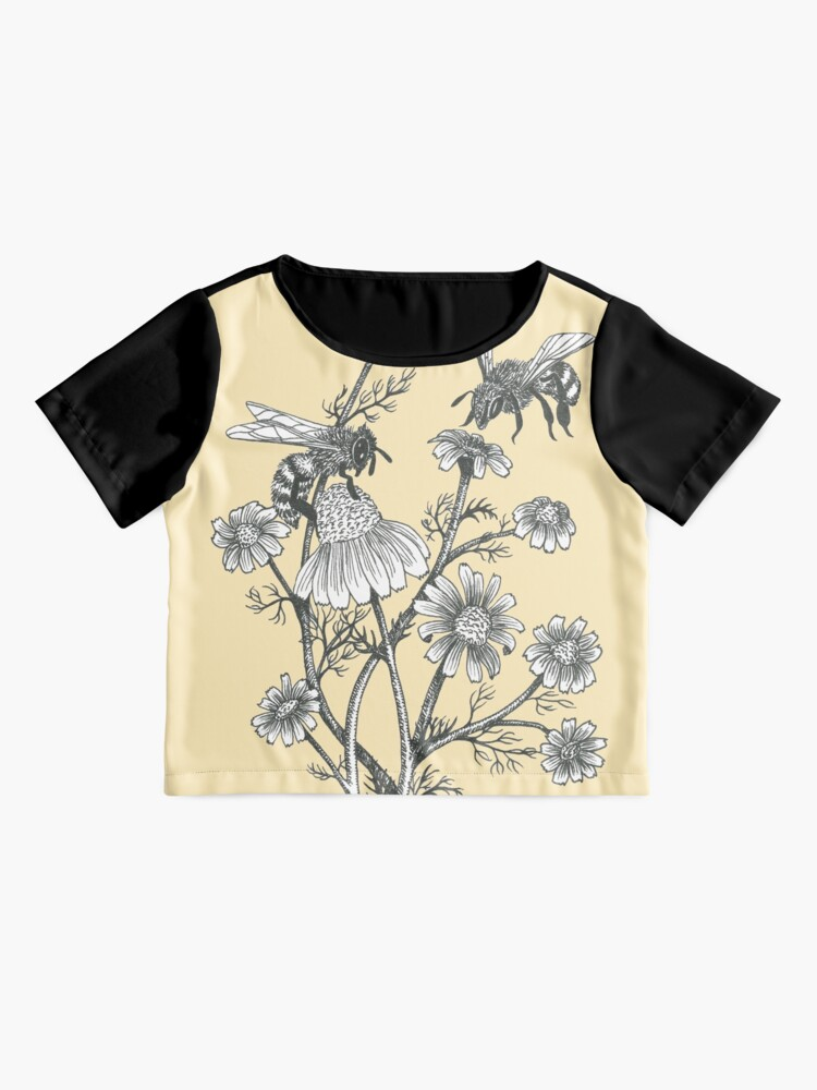 Alternate view of bees and chamomile on honey background  Chiffon Top