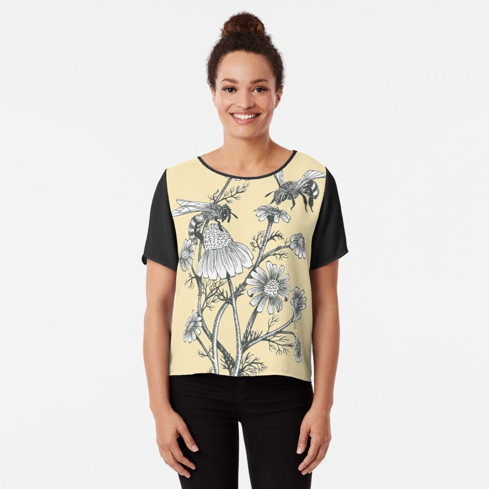 bees and chamomile on honey background  Chiffon Top