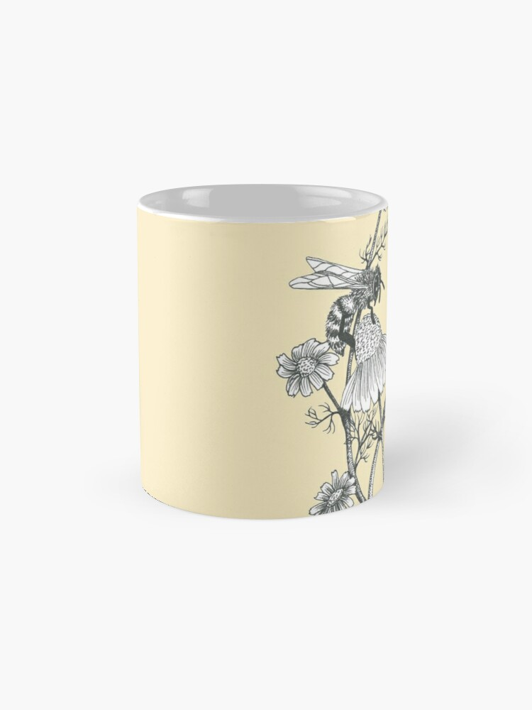 Alternate view of bees and chamomile on honey background  Mug
