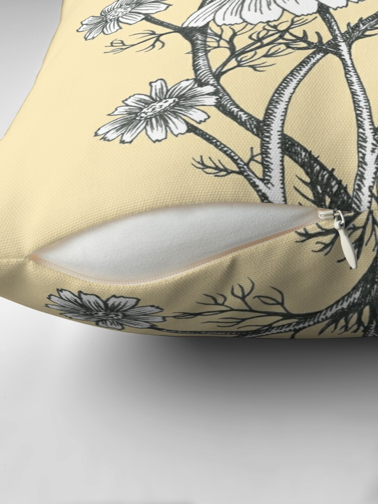 Alternate view of bees and chamomile on honey background  Throw Pillow