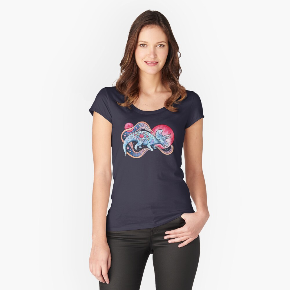 Star Tricera | Cosmic Dinosaur Watercolor Fitted Scoop T-Shirt