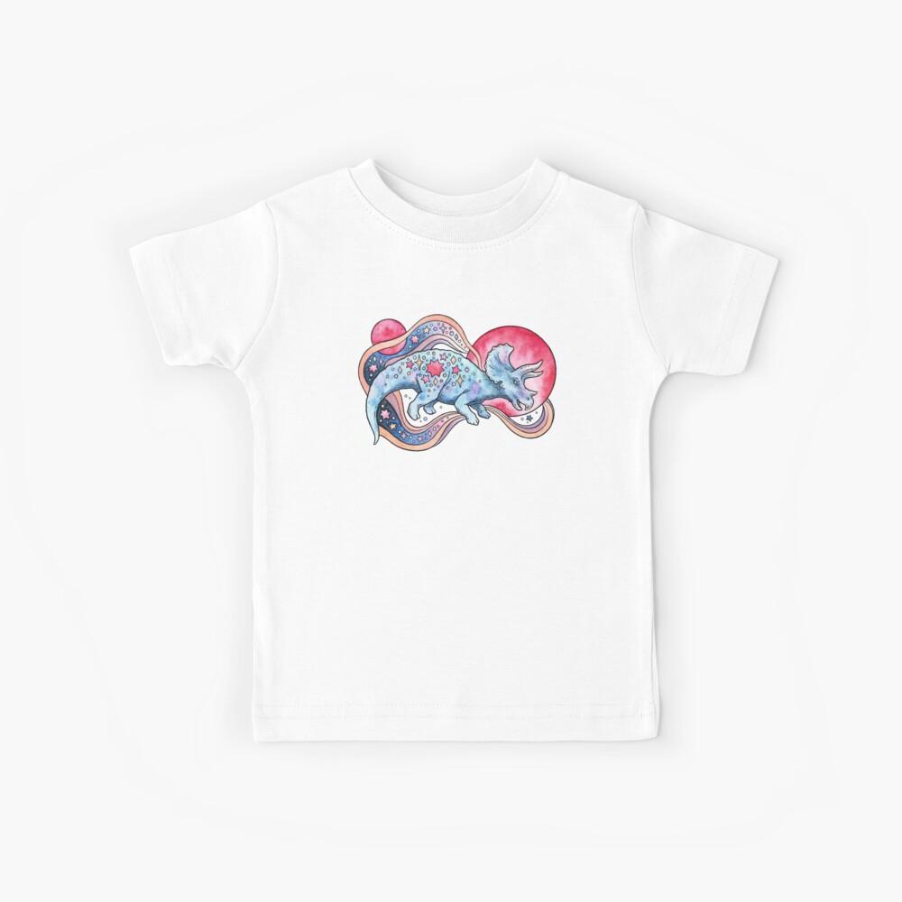 Star Tricera | Cosmic Dinosaur Watercolor Kids T-Shirt