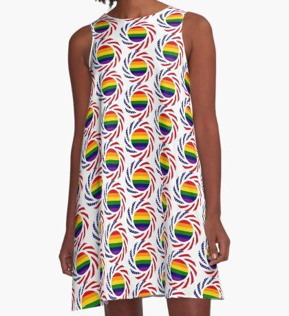 Rainbow American Patriot Flag Series A-Line Dress