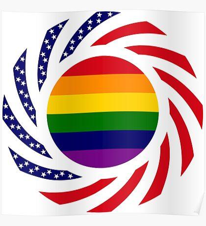 Rainbow American Patriot Flag Series Poster
