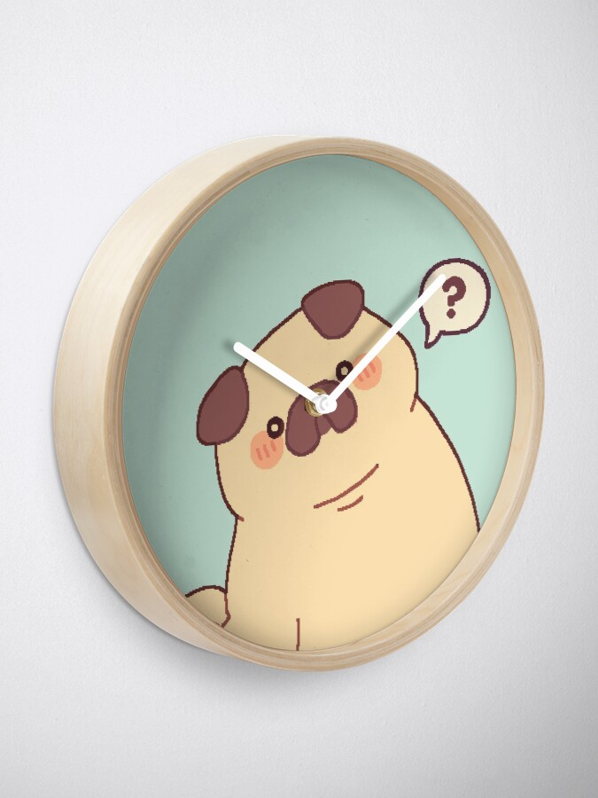 Alternate view of Cute & Confused Chubby Pixel Pug  Clock
