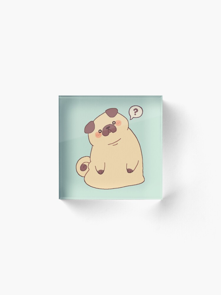 Alternate view of Cute & Confused Chubby Pixel Pug  Acrylic Block