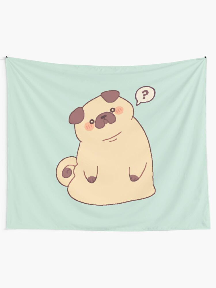 Alternate view of Cute & Confused Chubby Pixel Pug  Wall Tapestry