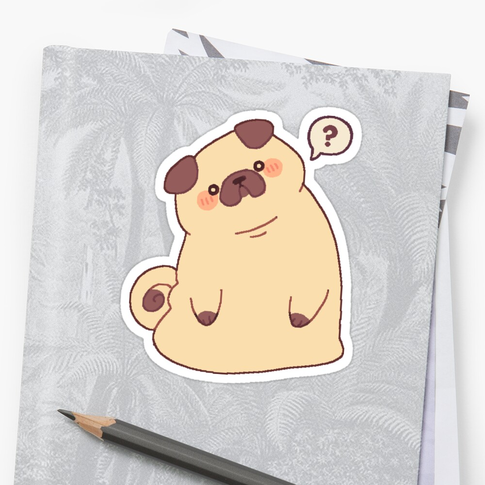 Cute & Confused Chubby Pixel Pug  Sticker