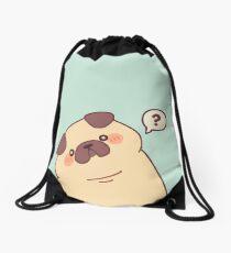 Cute & Confused Chubby Pixel Pug - Long boye Drawstring Bag