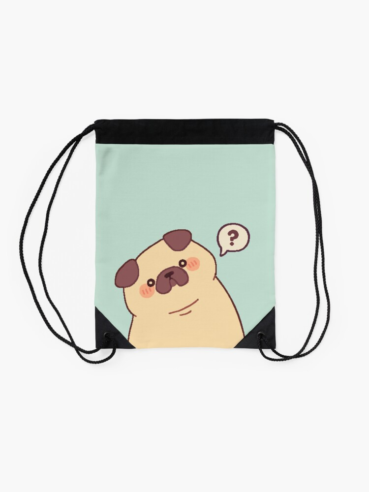 Alternate view of Cute & Confused Chubby Pixel Pug - Long boye Drawstring Bag