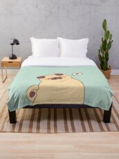 Cute & Confused Chubby Pixel Pug - Long boye Throw Blanket