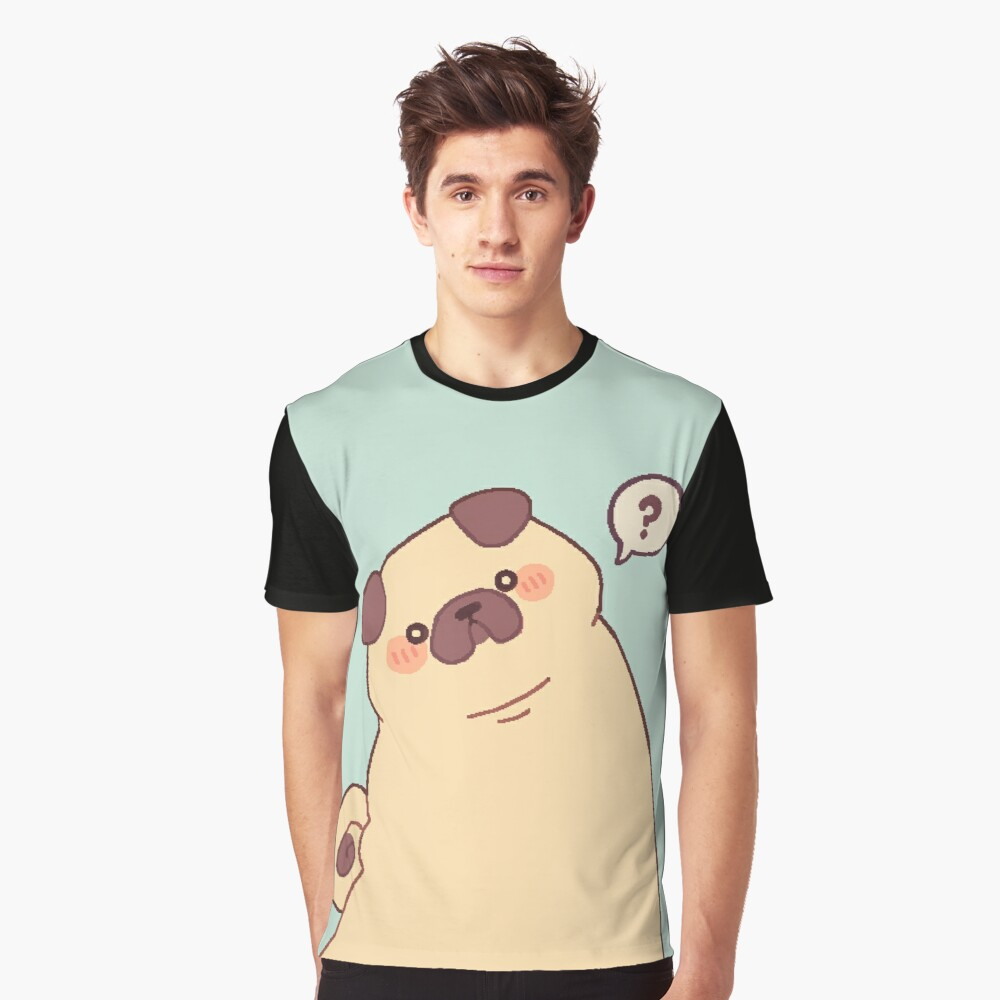 Cute & Confused Chubby Pixel Pug - Long boye Graphic T-Shirt