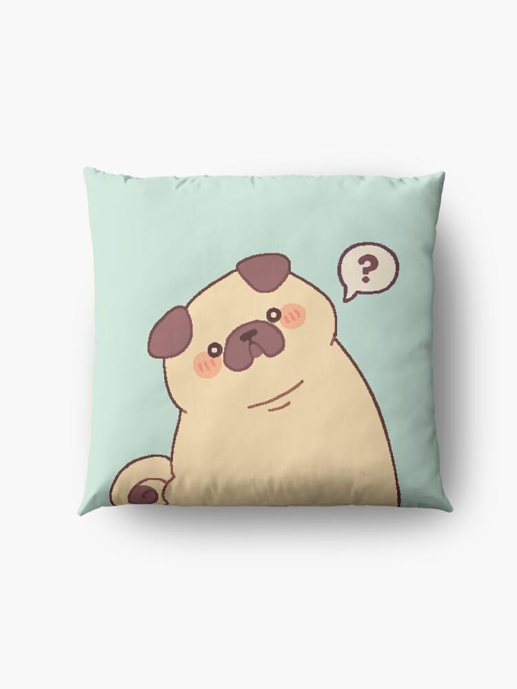 Alternate view of Cute & Confused Chubby Pixel Pug - Long boye Floor Pillow