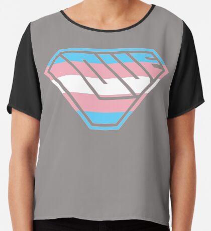 Love SuperEmpowered (Blue, Pink & White) Chiffon Top