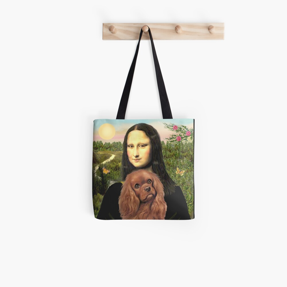 Mona Lisa and her Cavalier King Charles Spaniel (ruby) Tote Bag
