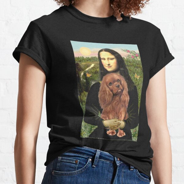Mona Lisa and her Cavalier King Charles Spaniel (ruby) Classic T-Shirt