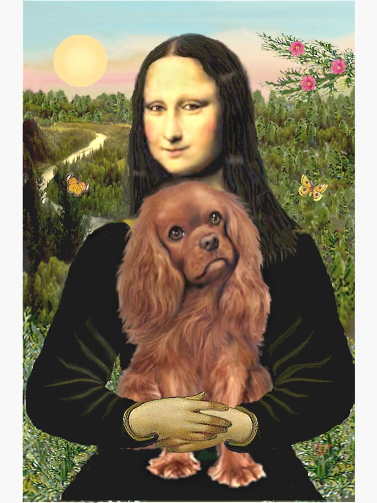 Mona Lisa and her Cavalier King Charles Spaniel (ruby) by JeanBFitzgerald