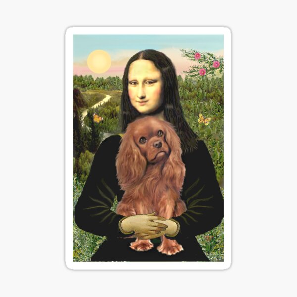 Mona Lisa and her Cavalier King Charles Spaniel (ruby) Sticker