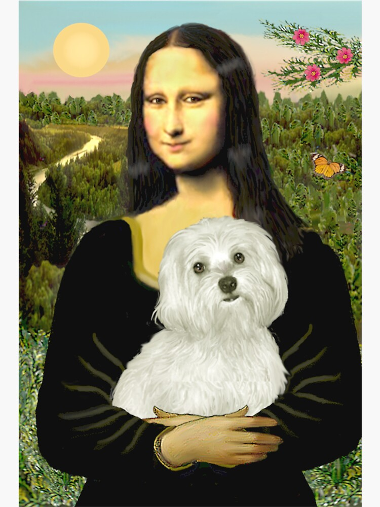 Mona Lisa and her Maltese by JeanBFitzgerald