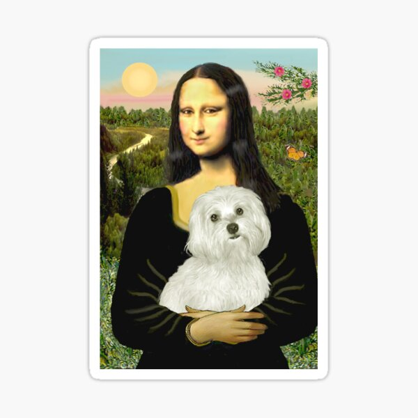 Mona Lisa and her Maltese Sticker