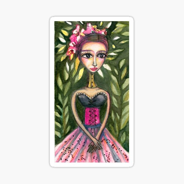 Frida Kahlo Portrait in Pink Corset and Foliage, Frida art, Meloearth Sticker