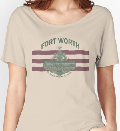 1912 Fort Worth Flag - We're For Smoke - All Roads Lead to Ft. Worth with City Name (Recolored) Relaxed Fit T-Shirt