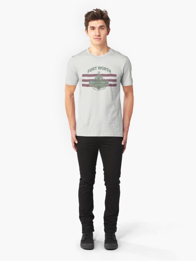 Alternate view of 1912 Fort Worth Flag - We're For Smoke - All Roads Lead to Ft. Worth with City Name (Recolored) Slim Fit T-Shirt
