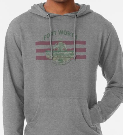 1912 Fort Worth Flag - We're For Smoke - All Roads Lead to Ft. Worth with City Name (Recolored) Lightweight Hoodie