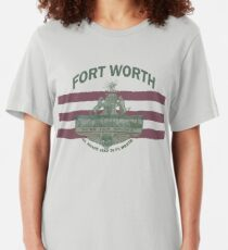 1912 Fort Worth Flag - We're For Smoke - All Roads Lead to Ft. Worth with City Name (Recolored) Slim Fit T-Shirt