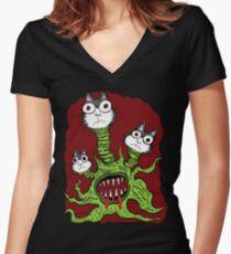 Kitty Monster Women's Fitted V-Neck T-Shirt
